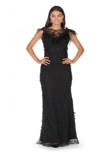 Pierre Cardin 3 Boyutlu Omuzu Tüylü Abiye Elbise Siyah